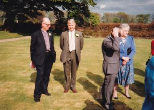1144 - Rowley 1991. L-R:- Giles Galley, Mark Lane, Bob Speak, Joan Speak at David and Anne Smith's wedding.